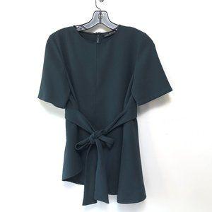 Zara Emerald Green Belted Asymmetrical Blouse